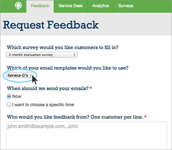 Edit email template for Customer survey email template