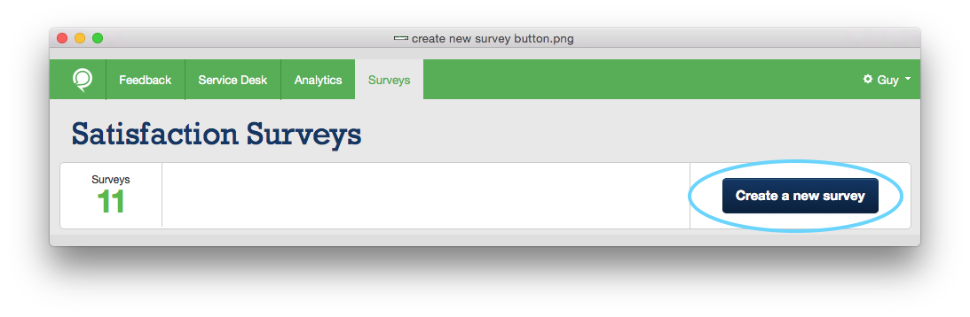 Create survey menu option